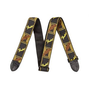FENDER - 2'' Monogrammed Strap (Black / Yellow / Brown)