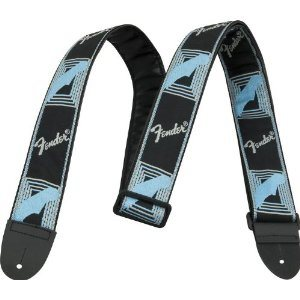 "FENDER - 2"" Monogrammed Strap (Black / Light Grey / Blue)"